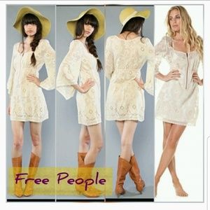 Free people cream & pink dress with front zipper